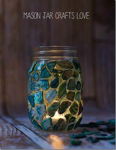 Mosaic mason jar candle holders! #DIY #sopretty