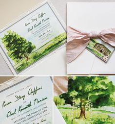 A tree with floral garland is the focal point of this beautiful watercolor landscape. #momentaldesigns #handpaintedinvite #watercolorlandscape #farmwedding #kristyrice #stonetavernfarm