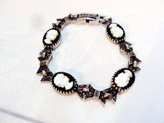 Vintage Sterling Silver Onyx Mother of Pearl by bitzofglitz4u, $45.00