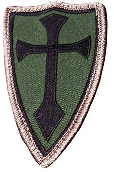 """[Single Count] Custom, Cool & Awesome {3"""" x 2"""" Inches} Small Outlined Shield Crusader Cross (Tactical Type) Velcro Patch """"Green, Black & Gold"""" mySimple Products"""