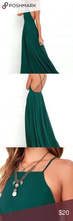 Lulus Mythical Kind of Love dark green maxi dress Gorgeous long flowy maxi gown dress in dark forest green. Low cross back. Worn once! Perfect for formal, wedding, bridesmaid, party, prom, etc. Can be dressed up or down. Lulu's Dresses Prom