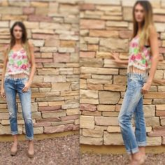 HOST PICK!!! Floral crop top Pink and cream floral crop top with crochet fringe  Apricot Lane Tops Crop Tops