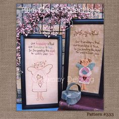 Hand Embroidery Pattern Primitive Angel di PlumCreekPatterns