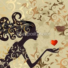Girl and a bird with a valentine by Oksana - Stock Vector
