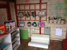 Outdoor shed - Modern Outdoor Classroom, Outdoor School, Classroom Ideas, Outdoor Sheds, Outdoor Play, Eyfs Activities, Mud Kitchen, Outdoor Learning, Mark Making