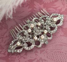 Vintage Pearl Rhinestone Hair comb, Bridal haircomb, 1920s Hairpiece, Gold Hair comb, Bridal Pearl Hair Comb, Wedding Hair Comb - RINA on Etsy, £35.58