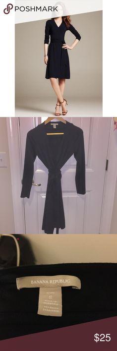 Banana Republic Gemma Wrap Dress Banana Republic Gemma Wrap Dress - Black. This is a true wrap dress - fully adjustable. Stretchy, clingy fabric. Flattering and yet super comfortable. Size S. Banana Republic Dresses