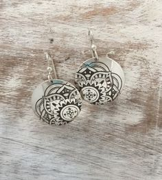Disc Dangle Earrings - Mandala Design:  Artisan Jewelry handcrafted from high quality materials.  Made in America.