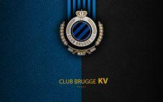 Download wallpapers Club Brugge KV, 4K, Belgian Football Club, Brugge FC, logo, emblem, Jupiler Pro League, leather texture, Bruges, Belgium, Belgian First Division A, football
