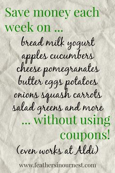 How to save money on fresh produce, dairy, eggs, and more. all without clipping a single coupon! Lots of great tips here Save Money On Groceries, Ways To Save Money, Money Tips, Money Saving Tips, Show Me The Money, Extreme Couponing, Budgeting Money, Money Matters, Finance Tips