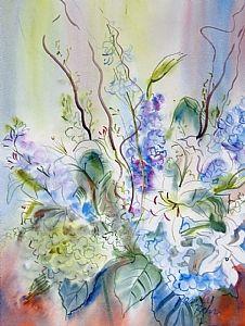 Carolina Blues by Brenda Behr Watercolor ~ 24 x 18 Floral Watercolor, Watercolor Paintings, Watercolour, Behr, Carolina Blue, Beautiful Paintings, Blues, Fine Art, Violets