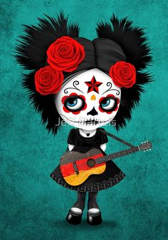 Sugar Skull Girl Playing German Flag Guitar | Jeff Bartels