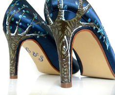 Wedding shoes twitter blue Birds of the Night tweet by norakaren, $225.00