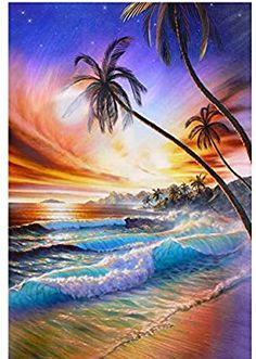 Diamond Painting Art Kit DIY Cross Stitch by Number Kit DIY Arts Craft Wall Decor Bridge to Water Villa Full Drill 12x16 in Seaside Theme No Frame