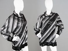 Vintage 80s FRANK USHER Batwing Top Striped Top by ZeusVintage
