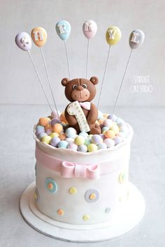1 million+ Stunning Free Images to Use Anywhere Teddy Bear Birthday Cake, 1st Birthday Cake For Girls, Teddy Bear Cakes, Baby Birthday Cakes, Baby Boy Christening Cake, Birth Cakes, Celebration Cakes, Themed Cakes, Baby Shower Cakes