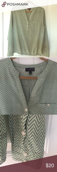Green chevron blouse from The Limited Green chevron blouse from The Limited. Green, black and white chevron print. Elastic band around hips. In perfect condition! The Limited Tops Blouses