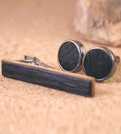 Whiskey Barrel Tie Clip & Cufflinks Set by Donald J. Fuss Fine Woodworking on Scoutmob Shoppe
