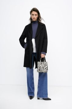 Color Negra, Welt Pocket, Double Breasted, Zara, Menswear, Normcore, Coat, Long Sleeve, Sleeves