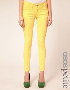 ASOS PETITE Skinny Jeans In Lemon Yellow #4