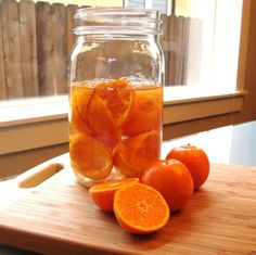 Gin infused with mandarin peels (a variation on limoncello)