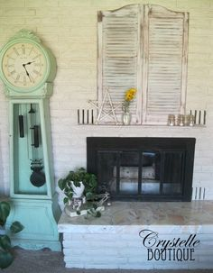 Make a fake mantle by attaching a plank to the bottom of two old shutters!    CrystelleBoutique