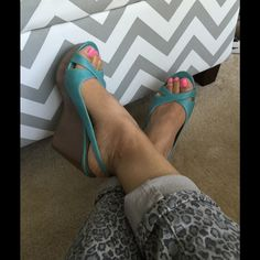 Xhilaration teal wedges Xhilaration Teal wedges- small scuffs on the front of it but not noticeable when wearing, teal color,brown heels, size 8.5 Xhilaration Shoes Wedges