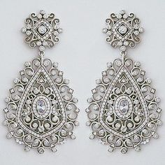 Modital Bijoux Italian Jewelry. Delicate filigree chandelier earrings adorned with petite CZs. Exquisite bridal earrings or for a black tie affair.