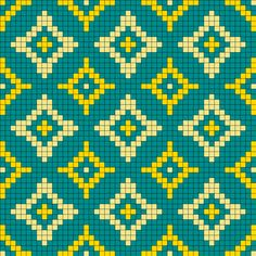 Old Wallpaper Pattern / Bead Sprite / Alpha friendship bracelet pattern, cross stitch chart, Perler bead pattern, loom bead pattern, craft pattern Fuse Bead Patterns, Kandi Patterns, Beading Patterns, Crochet Chart, Filet Crochet, Knitting Charts, Knitting Patterns, Cross Stitch Designs, Cross Stitch Patterns