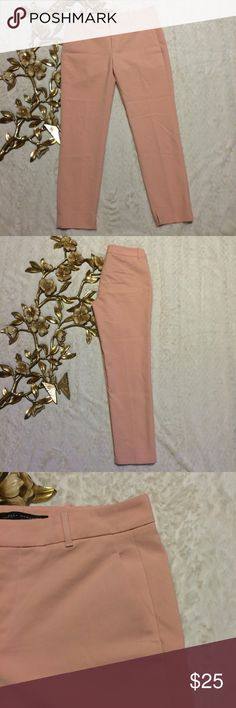 """Zara Woman Ankle Length Pants Zara Woman Ankle Length Pants                                    Peach color zipper and hook closure side pockets measurements taken laying flat: 36"""" length 27"""" inseam 16"""" waist  19"""" hip pre-owned great condition Zara Pants Ankle & Cropped"""