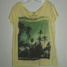 NWOT American Eagle Palm Tree Graphic Tee No tags, but never worn. Pale yellow with a print of a tropical scene. 50% cotton, 50% polyester. American Eagle Outfitters Tops Tees - Short Sleeve