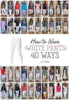 How to Wear and style 1 pair of white pants 40 different ways! The Old Navy rockstars fit me true (Size to size and I size one down size in the Liverpool jeans to a size Fashion Mode, Look Fashion, Spring Fashion, Autumn Fashion, Fashion Outfits, Fashion Tips, Petite Fashion, Fashion History, Korean Fashion