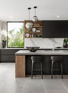 Modern kitchen design - The 39 Best Black Kitchens Kitchen Trends You Need To See – Modern kitchen design Luxury Kitchen Design, Interior Design Kitchen, Home Design, Design Design, Wall Design, Design Trends, Diy Interior, Coastal Interior, Modern Design