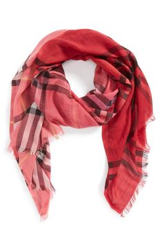 Such a pretty pink ombré check wool & silk scarf | Burberry.