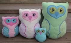 Owl Softies embroidery garden add tags for a baby toy on the smaller ones