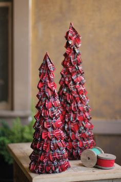 set of two plaid fabric topiaries