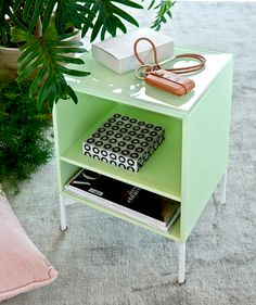 STAY - side table with glasstop from Montana Collection in the colour Pistachio