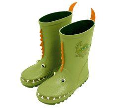Kidorable: Dinosaur Rain Boots Rawwwwr! Little Dinosaurs will love to stomp around in these rain boots!