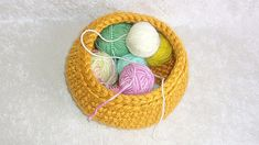 Storage Basket or Catch-all, crocheted in Golden Yellow thick and soft yarn, for dresser or tabletop Golden Yellow, Storage Baskets, Handicraft, Spoonflower, Tabletop, Heart Shapes, Home Accessories, Dresser, Crochet Earrings