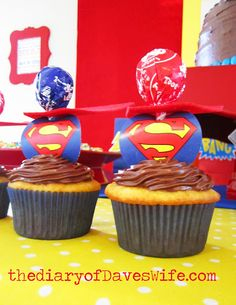Superman cupcakes from @Kristy Lumsden Lumsden Lumsden Lumsden Lumsden {Daveswife}. We made these for my daughter's coworkers monthly birthday party since all the coworkers' names started with S! We did use white icing with a swirl of blue gel, green rock candy for kyptonite and red, yellow, & blue striped batter cupcakes! Super! B