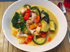 Low carb Rezepte: Fisch-Gemüsepfanne mit Kokosmilch low carb