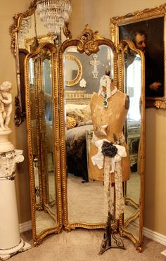 Antique Hand Carved Gilt Three Panel Mirror | eBay