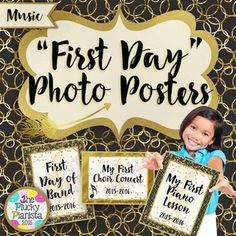 First and Last Day of Music, Piano, Choir, Band, Orchestra, School, Photo Posters {Gilded Onyx, portrait and landscape}. These signs are the perfect way to honor your students firsts and lasts in music! #musictpt #elmused #pianoteaching #pluckypianista