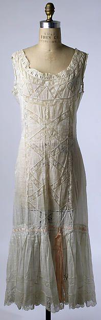 Chemise Date: 1910s Culture: American or European Medium: linen, cotton, silk Dimensions: Length: 48 in. (121.9 cm)