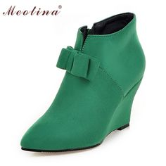 Women Boots Wedge Heels Ankle Boots Spring Autumn Boots Ladies Shoes Zipper Wedges Pink Green Large Size 9 10 42 43 Discount