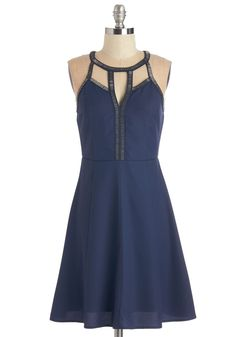 Ebullient Effect Dress. You always feel cheerful when you don this swingy, midnight-blue party dress! #blue #modcloth