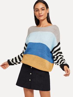 e818c6ff16 SHEIN offers Color Block Striped Sweater   more to fit your fashionable  needs.