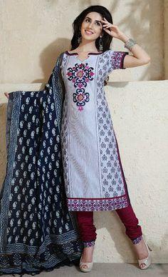 USD 54.84 Grey Silk Churidar Salwar Kameez 30696