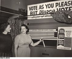 Possible YAT Photo: Voting Booth, League of Women Voters, Hammond IN? circa 1950