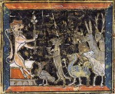 Noble Lion King: the Lion Court convenes animals, Northern France, late 13th century.